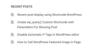 Recent post display using Shortcode-WordPress